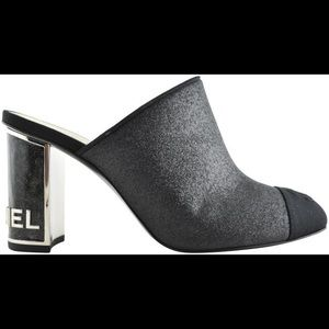 CHANEL black glitter mule pump